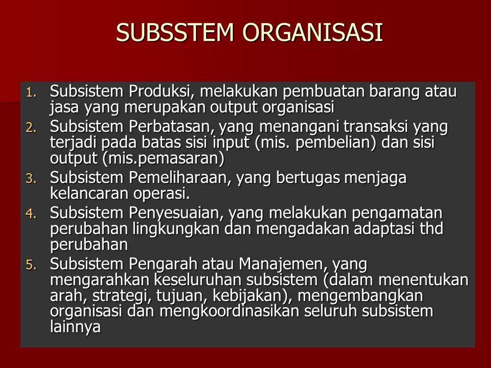 SUBSSTEM ORGANISASI Subsistem Produksi, melakukan pembuatan barang atau jasa yang merupakan output organisasi.