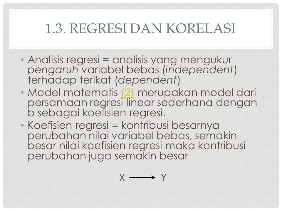 1.3. Regresi dan korelasi Analisis regresi = analisis yang mengukur pengaruh variabel bebas (independent) terhadap terikat (dependent)