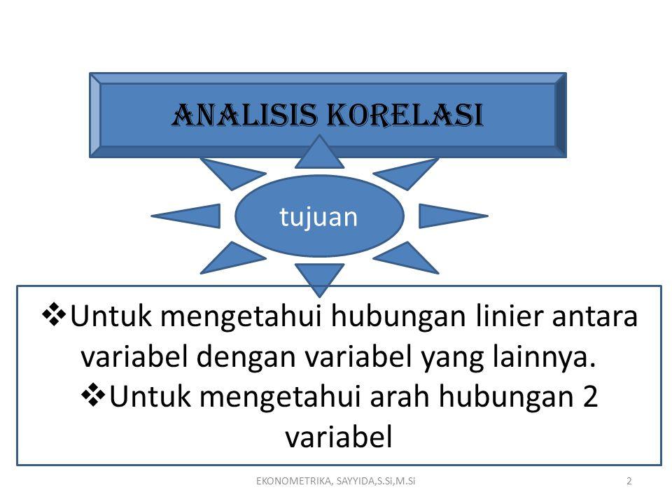 Untuk mengetahui arah hubungan 2 variabel