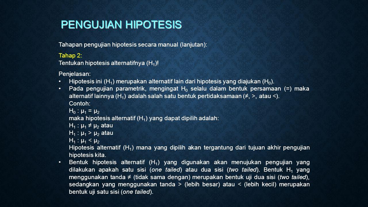 PENGUJIAN HIPOTESIS Tahapan pengujian hipotesis secara manual (lanjutan): Tahap 2: Tentukan hipotesis alternatifnya (H1)!