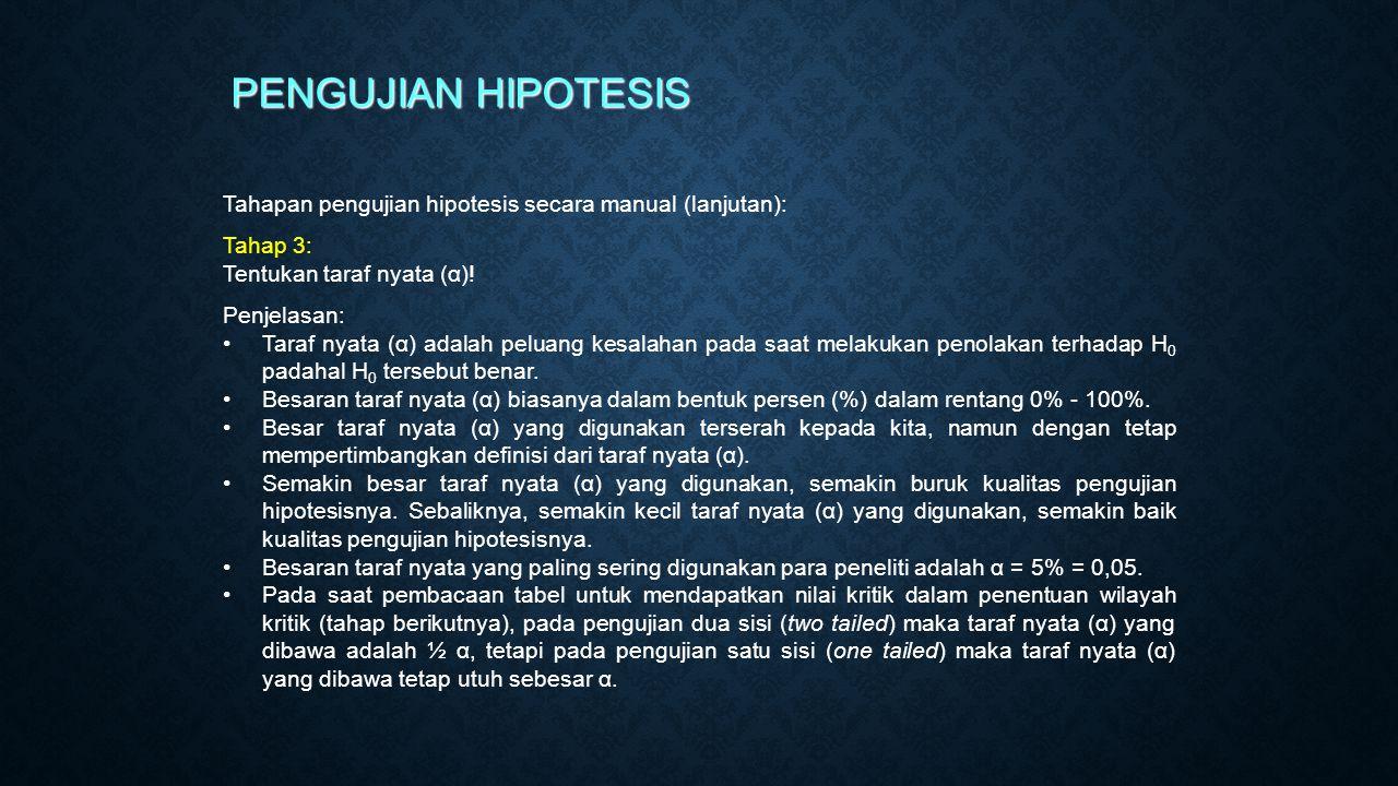 PENGUJIAN HIPOTESIS Tahapan pengujian hipotesis secara manual (lanjutan): Tahap 3: Tentukan taraf nyata (α)!