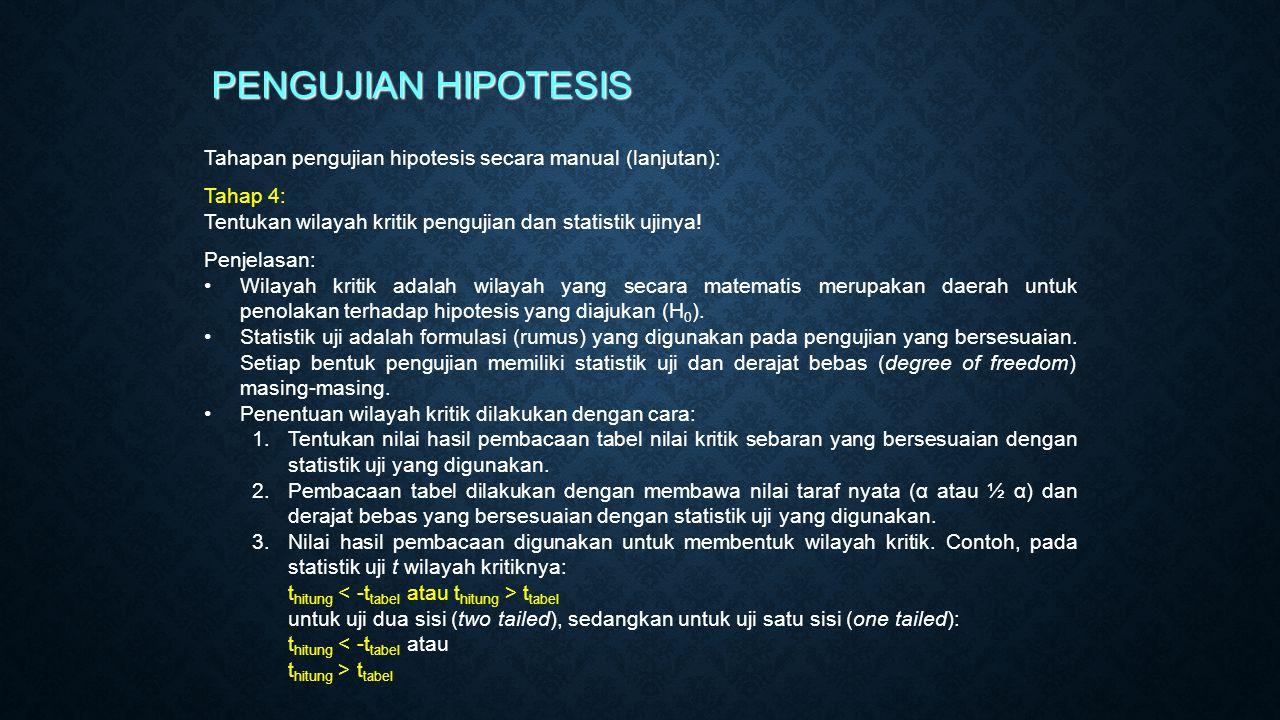 PENGUJIAN HIPOTESIS Tahapan pengujian hipotesis secara manual (lanjutan): Tahap 4: Tentukan wilayah kritik pengujian dan statistik ujinya!