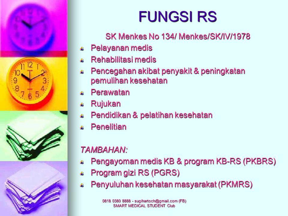 FUNGSI RS SK Menkes No 134/ Menkes/SK/IV/1978 Pelayanan medis