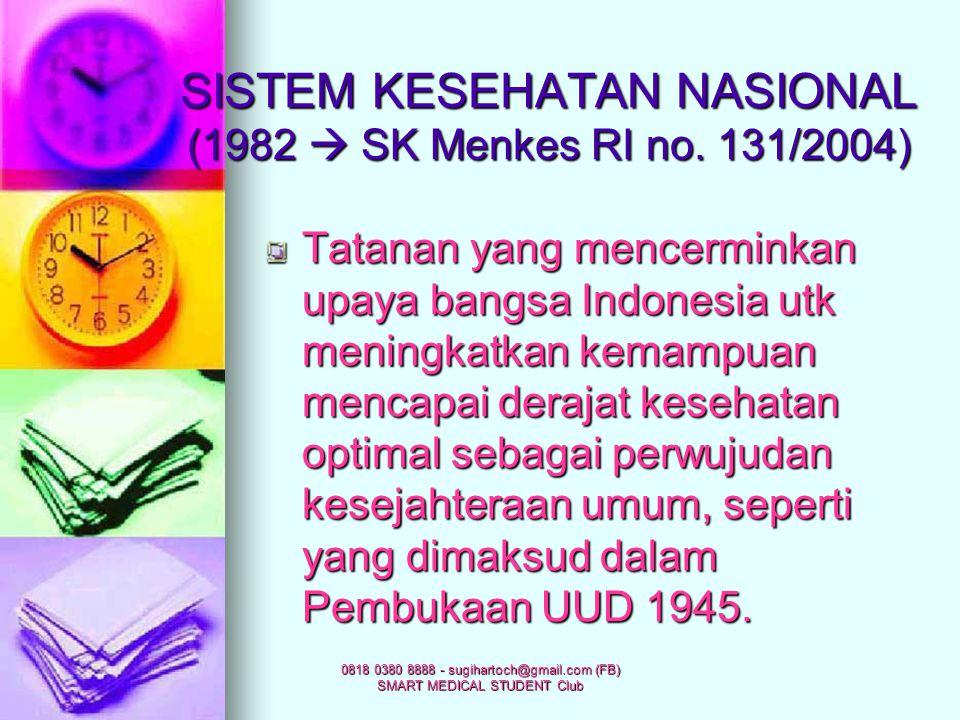 SISTEM KESEHATAN NASIONAL (1982  SK Menkes RI no. 131/2004)