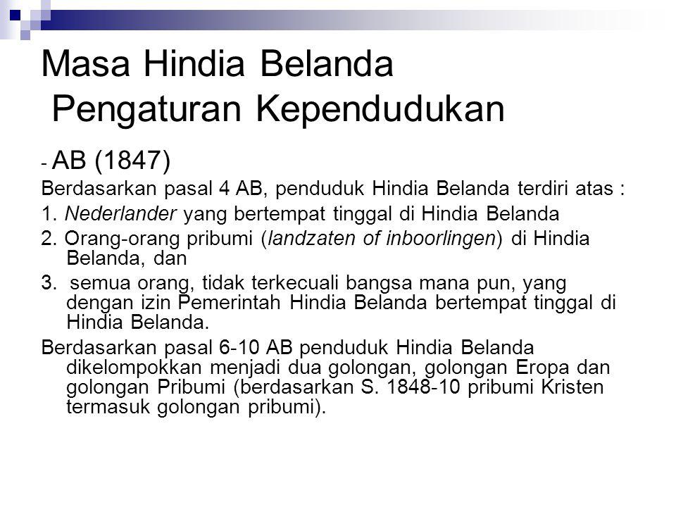 Masa Hindia Belanda Pengaturan Kependudukan