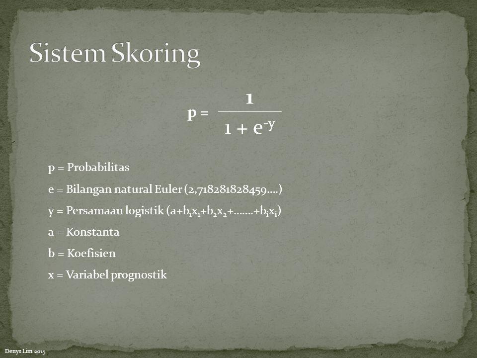 Sistem Skoring 1 1 + e-y p = p = Probabilitas