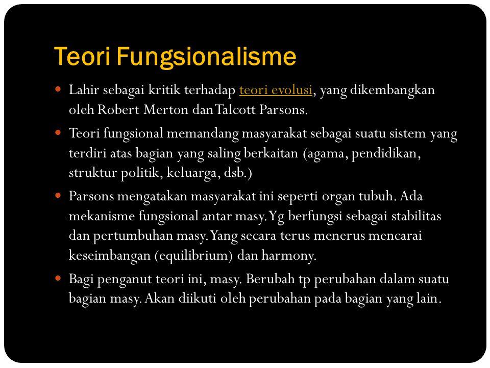 Teori Fungsionalisme Lahir sebagai kritik terhadap teori evolusi, yang dikembangkan oleh Robert Merton dan Talcott Parsons.