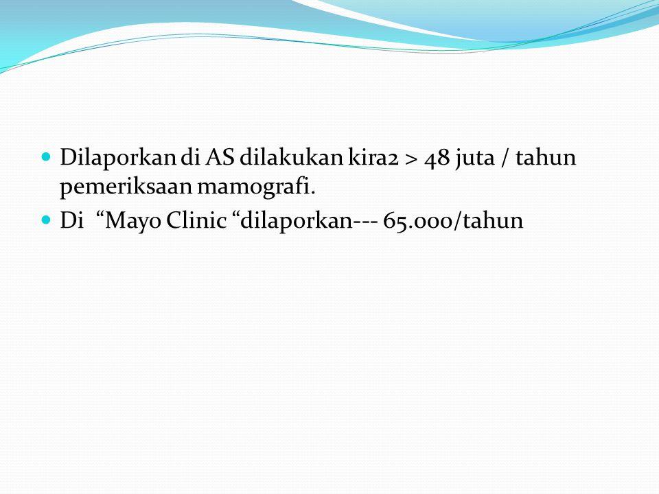 Dilaporkan di AS dilakukan kira2 > 48 juta / tahun pemeriksaan mamografi.