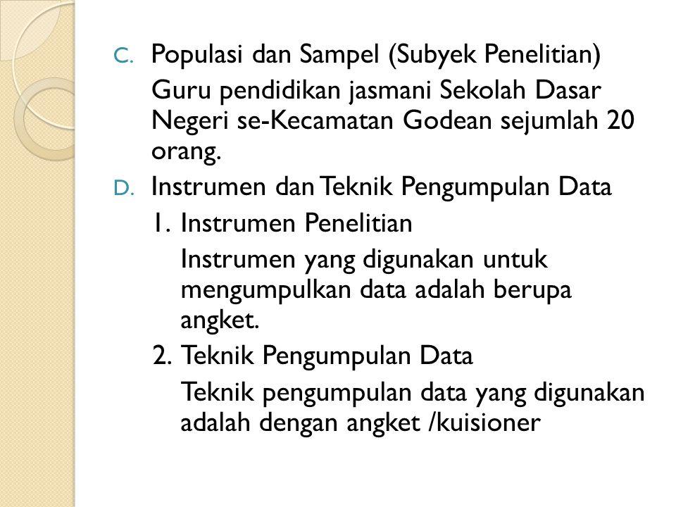 Populasi dan Sampel (Subyek Penelitian)