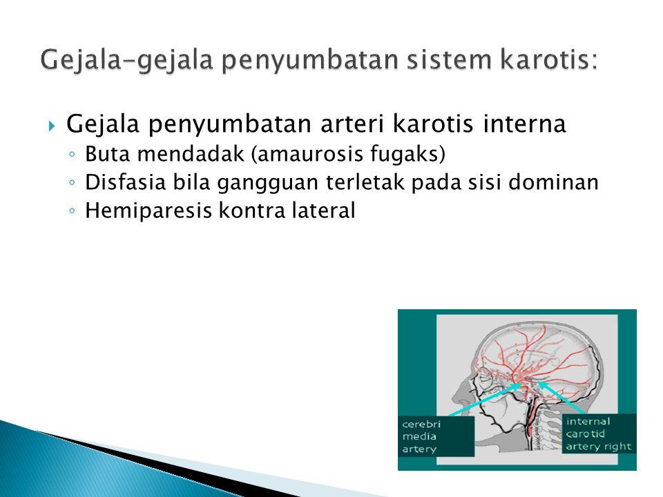 Gejala-gejala penyumbatan sistem karotis: