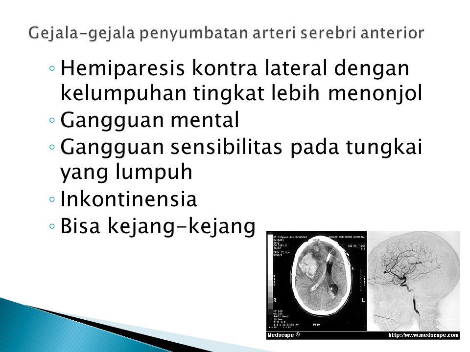 Gejala-gejala penyumbatan arteri serebri anterior