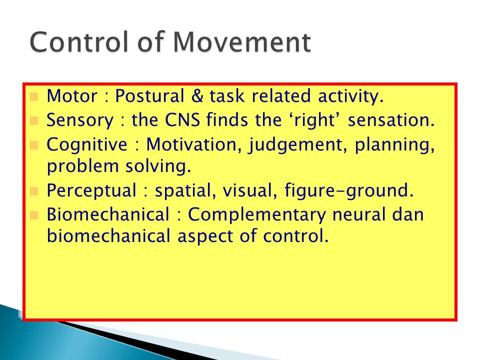 Control of Movement Motor : Postural & task related activity.