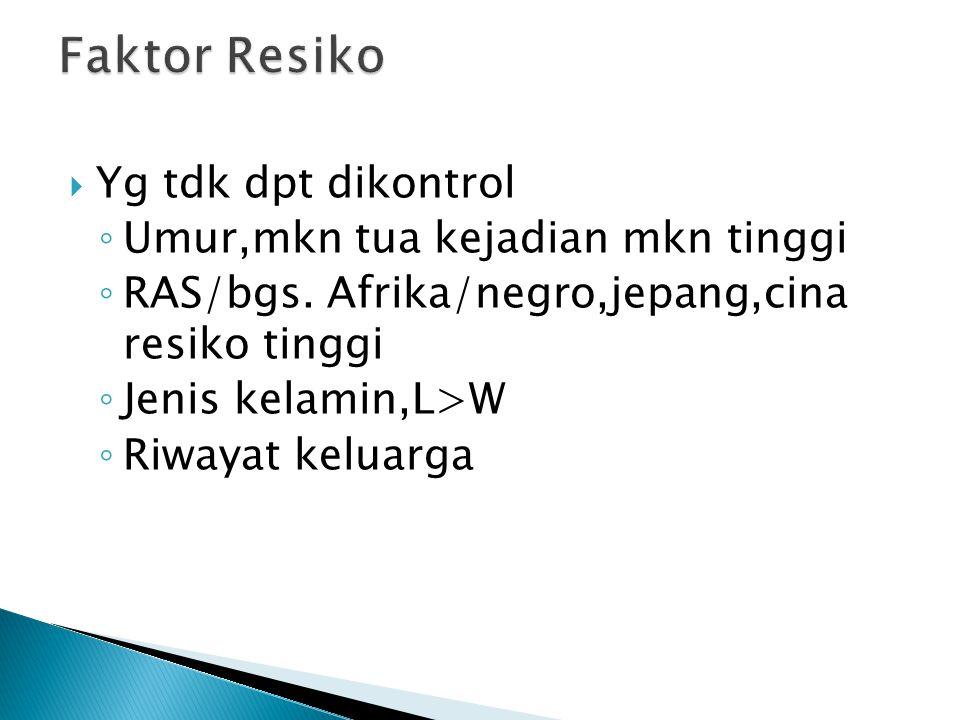 Faktor Resiko Yg tdk dpt dikontrol Umur,mkn tua kejadian mkn tinggi