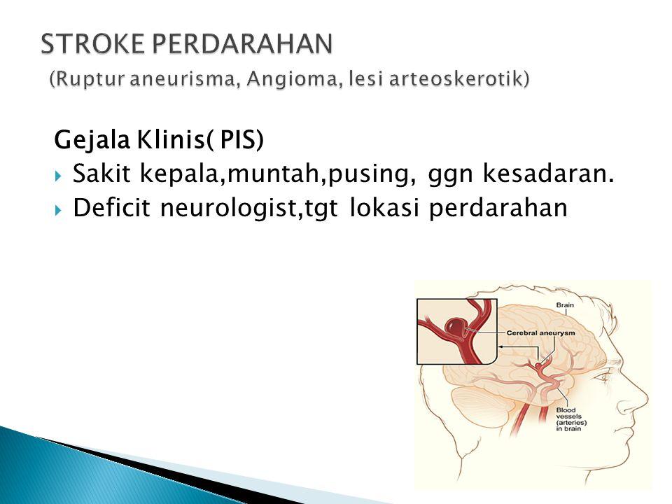 STROKE PERDARAHAN (Ruptur aneurisma, Angioma, lesi arteoskerotik)