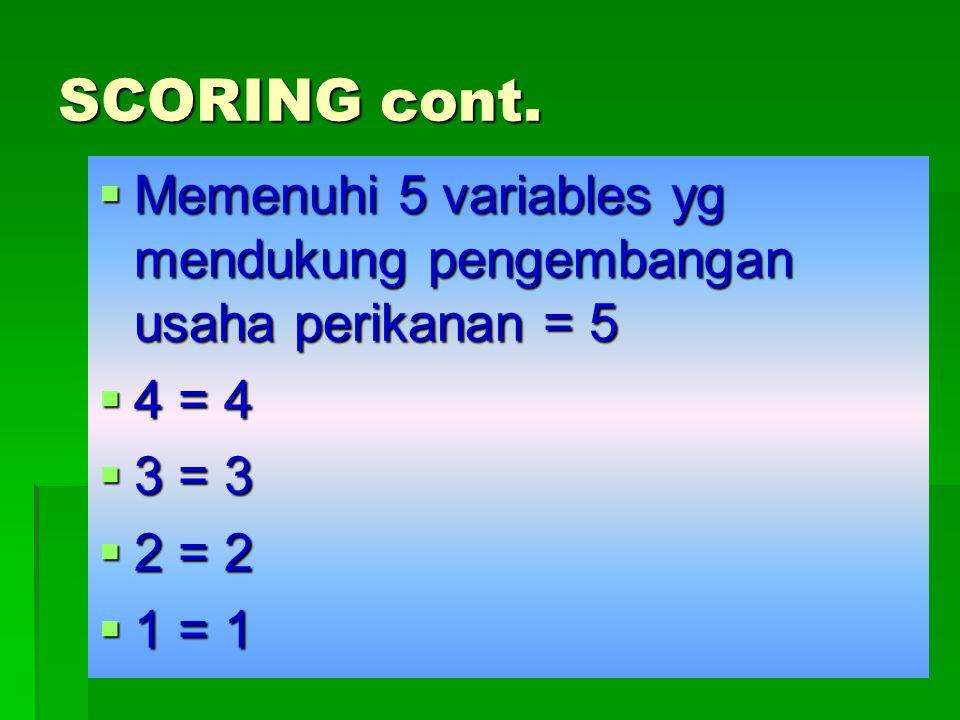 SCORING cont. Memenuhi 5 variables yg mendukung pengembangan usaha perikanan = 5. 4 = 4. 3 = 3. 2 = 2.