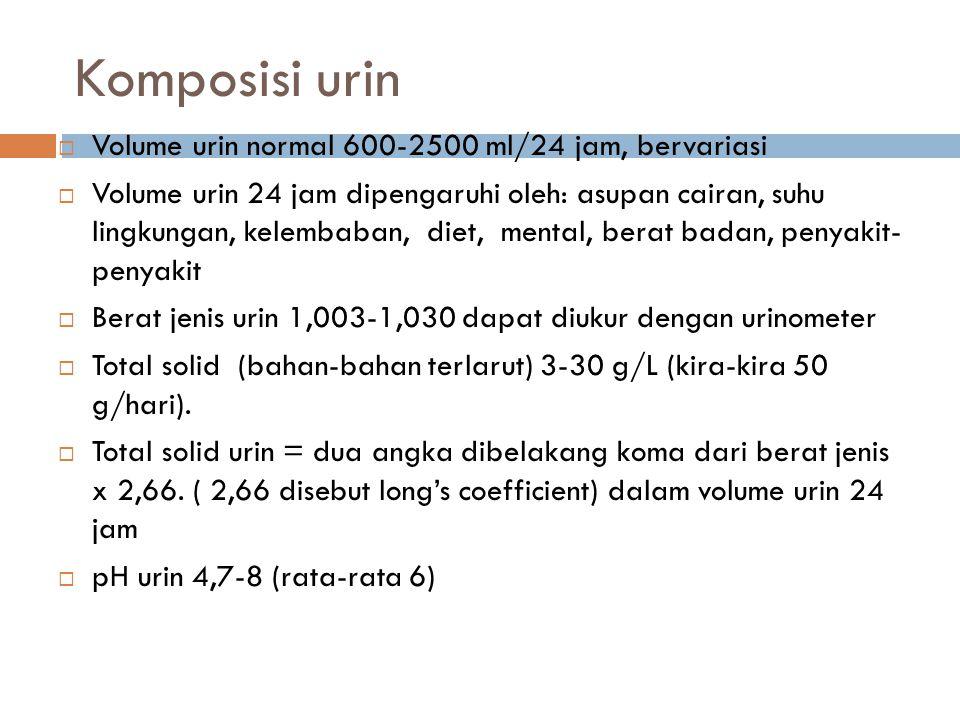 Komposisi urin Volume urin normal 600-2500 ml/24 jam, bervariasi