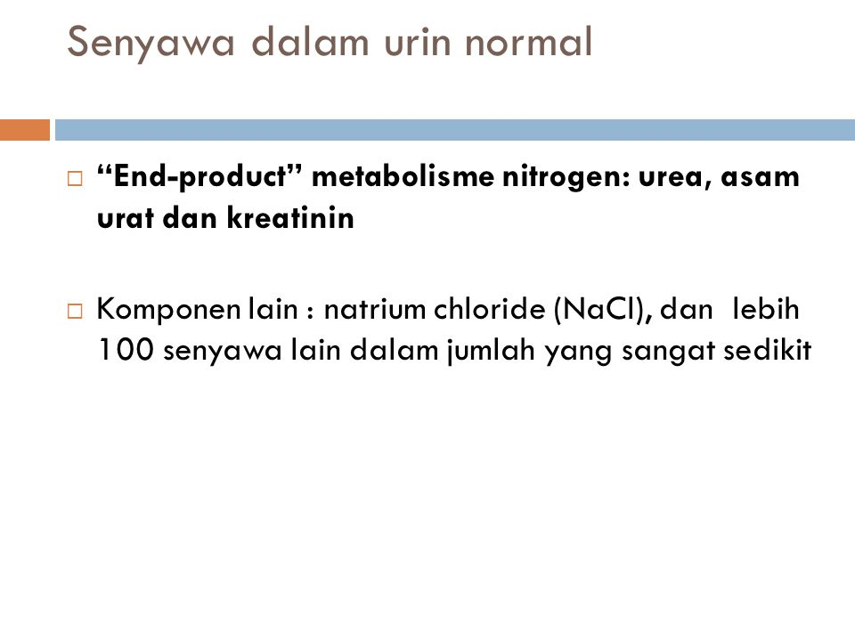 Senyawa dalam urin normal