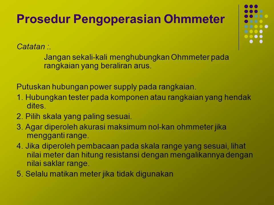 Prosedur Pengoperasian Ohmmeter