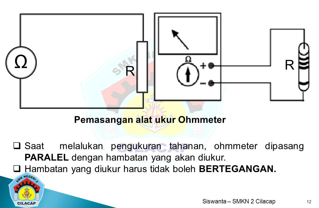 Ω R R Pemasangan alat ukur Ohmmeter