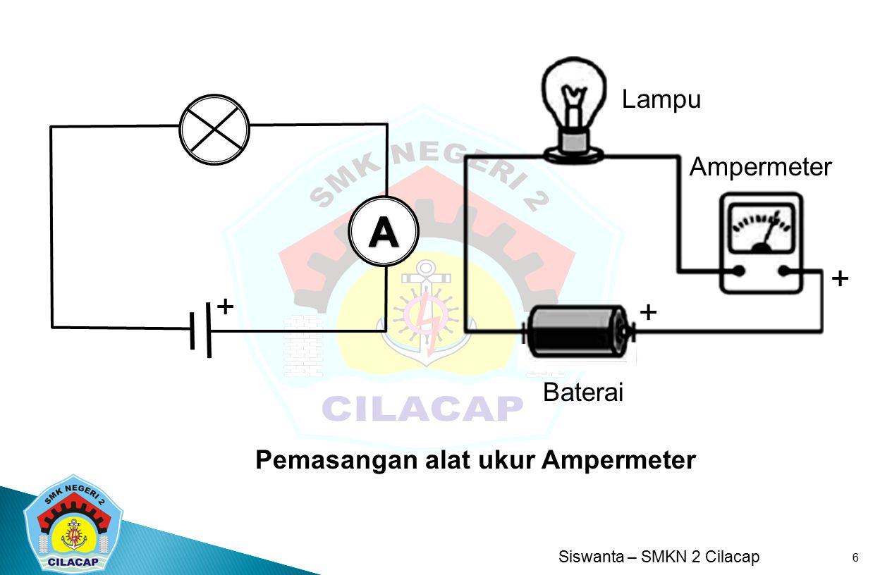 Ampermeter Baterai Lampu + A + Pemasangan alat ukur Ampermeter
