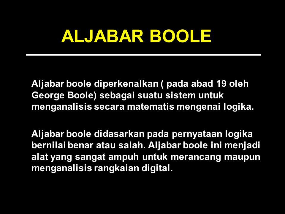 ALJABAR BOOLE Aljabar boole diperkenalkan ( pada abad 19 oleh George Boole) sebagai suatu sistem untuk menganalisis secara matematis mengenai logika.
