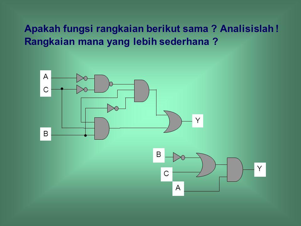 Apakah fungsi rangkaian berikut sama. Analisislah