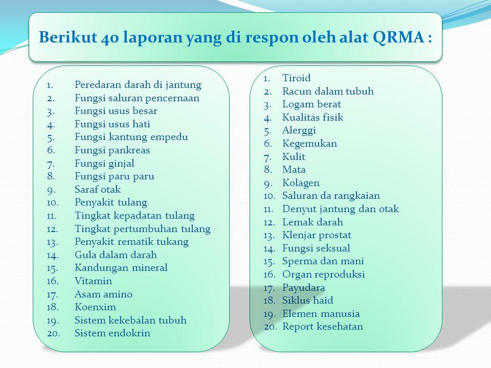 Berikut 40 laporan yang di respon oleh alat QRMA :