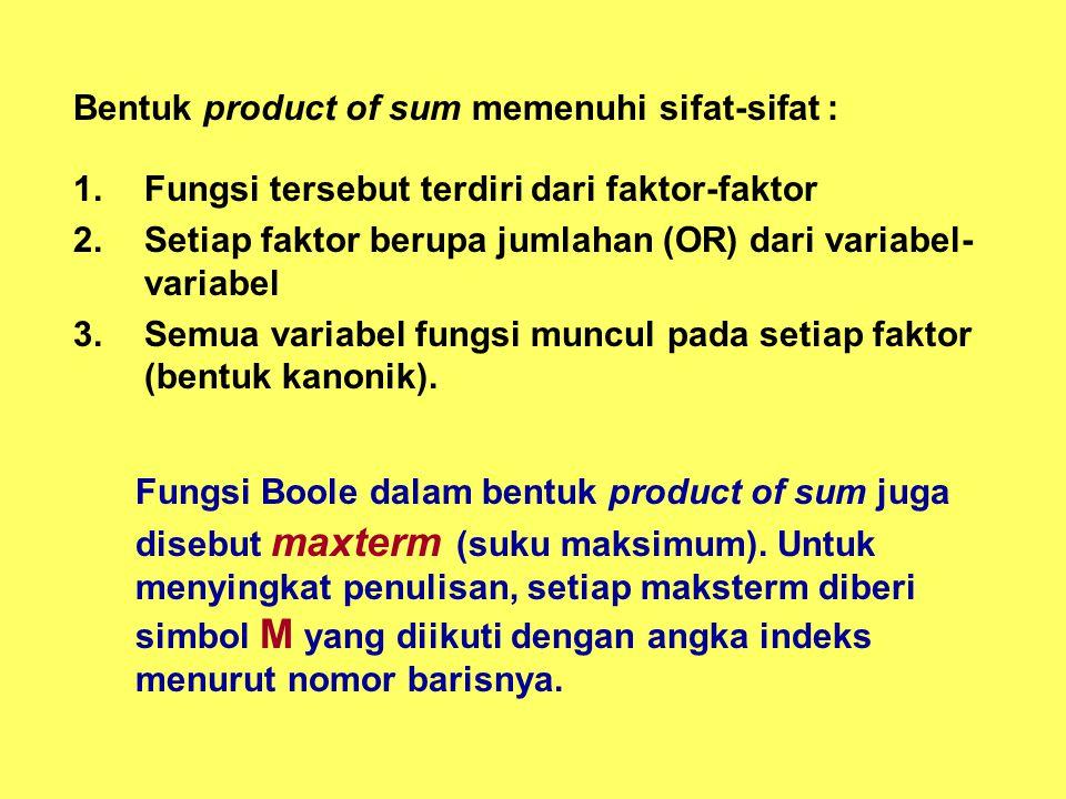 Bentuk product of sum memenuhi sifat-sifat :