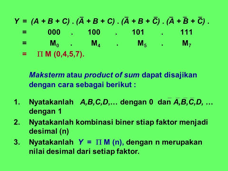 Y = (A + B + C) . (A + B + C) . (A + B + C) . (A + B + C) .