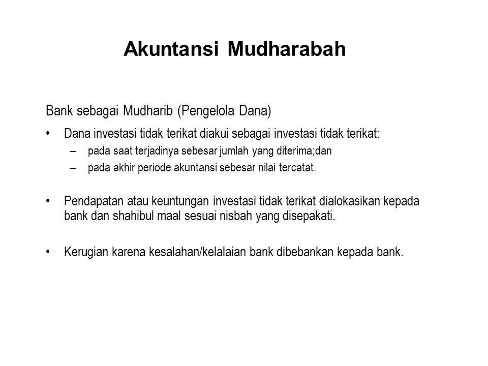 Akuntansi Mudharabah Bank sebagai Mudharib (Pengelola Dana)