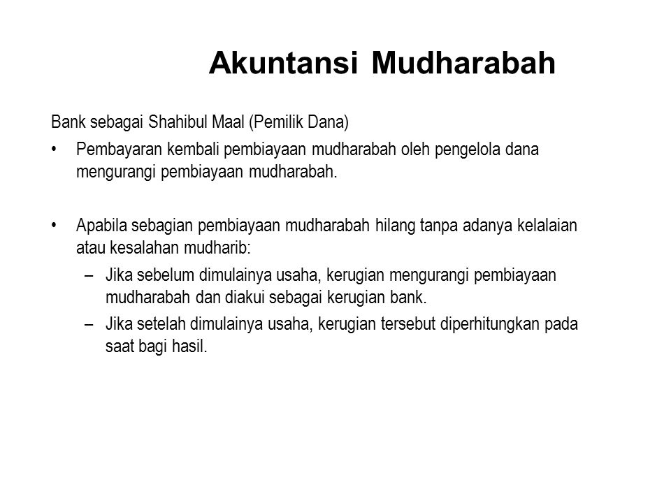 Akuntansi Mudharabah Bank sebagai Shahibul Maal (Pemilik Dana)