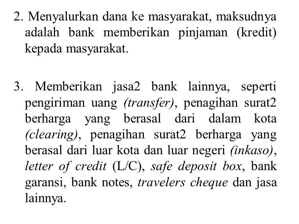2. Menyalurkan dana ke masyarakat, maksudnya adalah bank memberikan pinjaman (kredit) kepada masyarakat.
