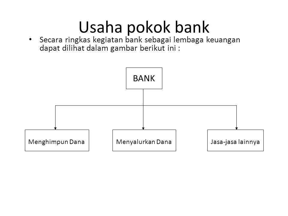 Usaha pokok bank Secara ringkas kegiatan bank sebagai lembaga keuangan dapat dilihat dalam gambar berikut ini :