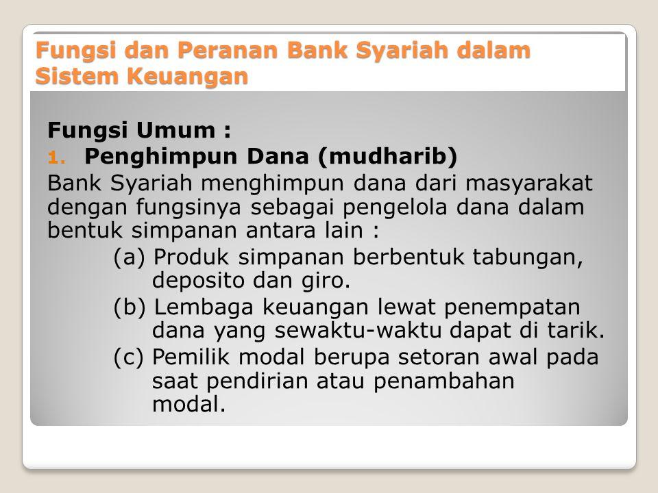 Fungsi dan Peranan Bank Syariah dalam Sistem Keuangan