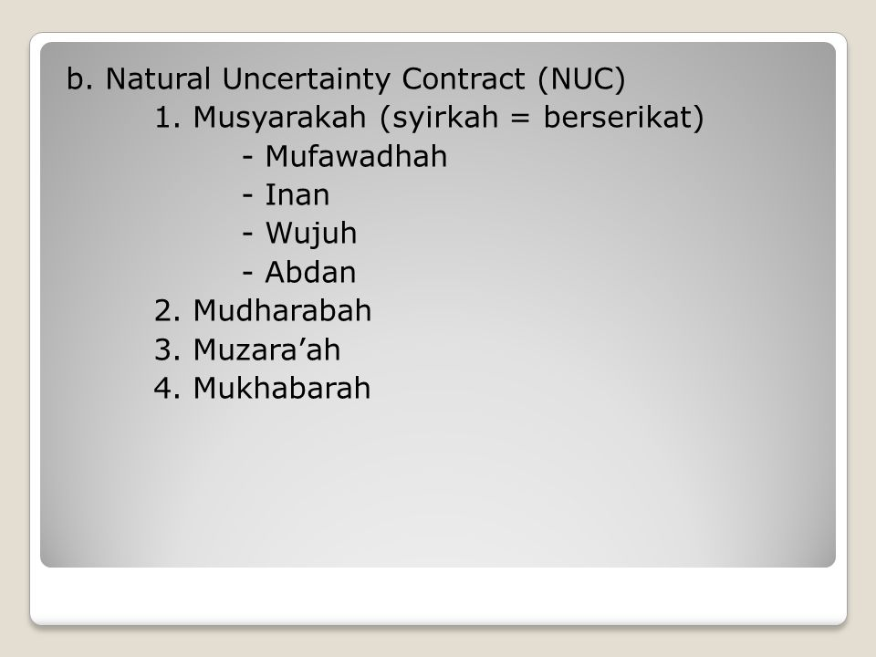 b. Natural Uncertainty Contract (NUC) 1