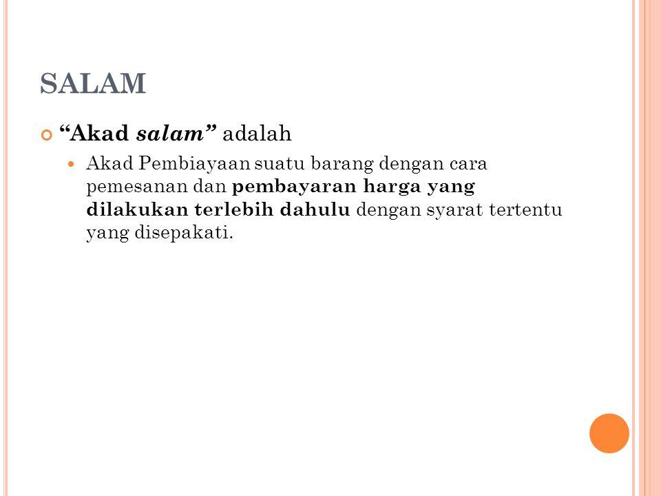 SALAM Akad salam adalah