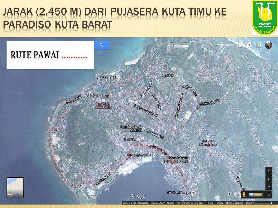 Jarak (2.450 M) dari Pujasera Kuta Timu ke Paradiso Kuta Barat