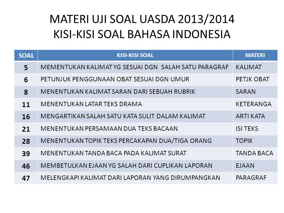 MATERI UJI SOAL UASDA 2013/2014 KISI-KISI SOAL BAHASA INDONESIA
