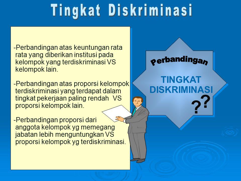 TINGKAT DISKRIMINASI Tingkat Diskriminasi Perbandingan