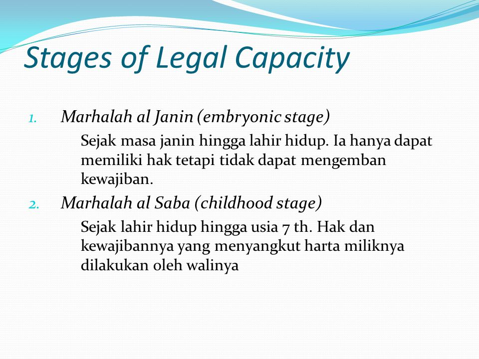 Stages of Legal Capacity