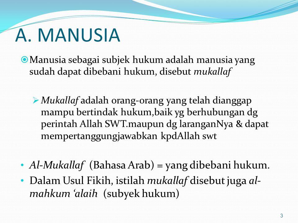 A. MANUSIA Al-Mukallaf (Bahasa Arab) = yang dibebani hukum.