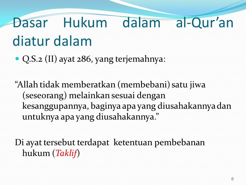 Dasar Hukum dalam al-Qur'an diatur dalam