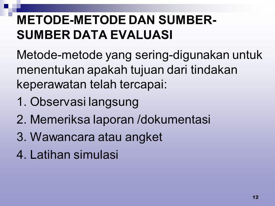 METODE-METODE DAN SUMBER-SUMBER DATA EVALUASI