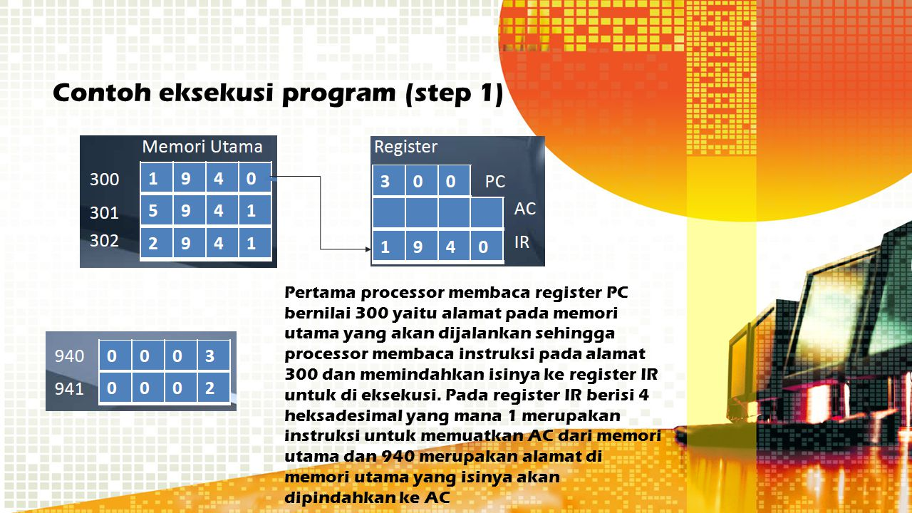 Contoh eksekusi program (step 1)