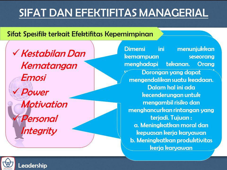 SIFAT DAN EFEKTIFITAS MANAGERIAL