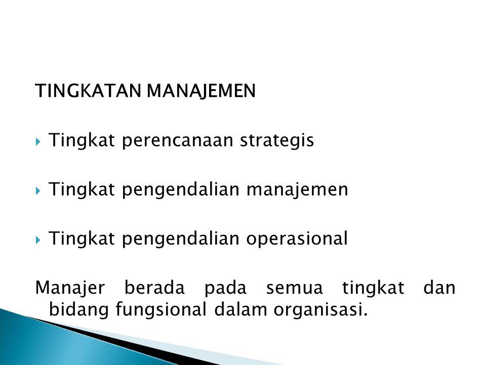 TINGKATAN MANAJEMEN Tingkat perencanaan strategis. Tingkat pengendalian manajemen. Tingkat pengendalian operasional.