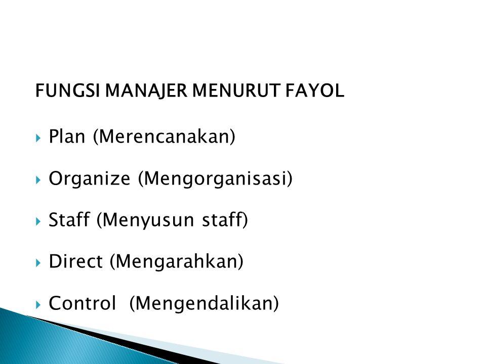 Organize (Mengorganisasi) Staff (Menyusun staff) Direct (Mengarahkan)