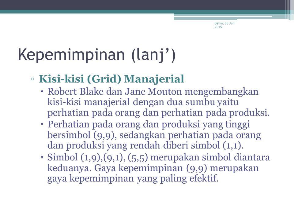 Kepemimpinan (lanj') Kisi-kisi (Grid) Manajerial
