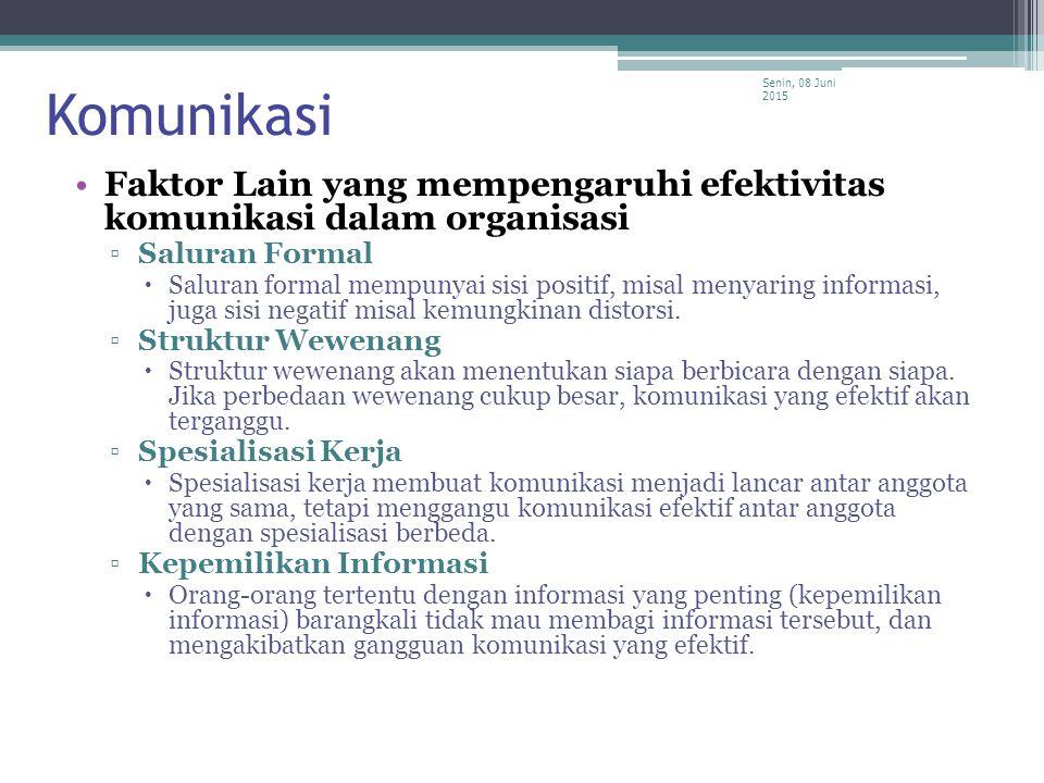Komunikasi Minggu, 16 April 2017Minggu, 16 April 2017. Faktor Lain yang mempengaruhi efektivitas komunikasi dalam organisasi.