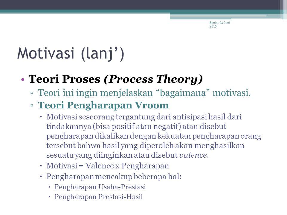 Motivasi (lanj') Teori Proses (Process Theory)